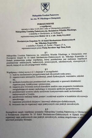 Tekst umowy partnerskiej między PWSZ im. rtm Pilkeckiego a PZ nr10SME